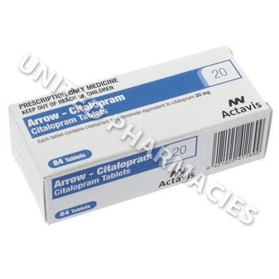 Arrow-Citalopram (Citalopram Hydrobromide) - 20mg (84 Tablets)