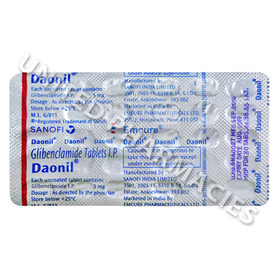 Daonil (Glibenclamide IP) - 5mg (30 Tablets)