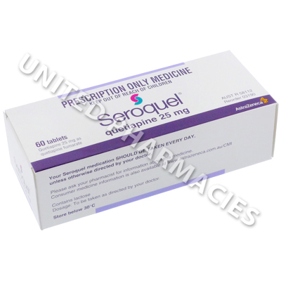 Seroquel (Quetiapine Fumarate) - 25mg (60 Tablets)